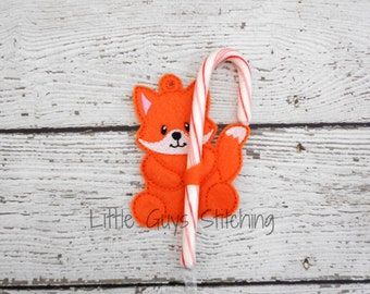 Fox Candycane Holder Ornament, Candy Cane Holder, Fox Ornament