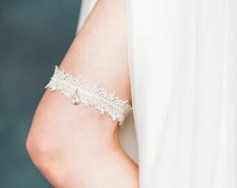 Ivory Rose Gold Crystal Lace Garter, Modern Bridal Garter, Rose Gold Garter, Silver Garter, Gold Crystal Garter, Rhinestone Garter,  LEONA