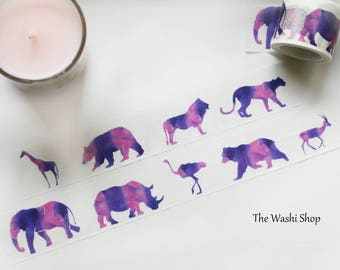 Purple Animal Silhouette Washi Tape(30mm x 5m)