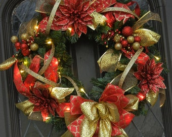 Lighted wreath, Christmas wreath, bathery operated, red gold wreath, Christmas door hanger, battery operated lights,