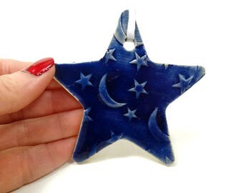 Star Ornament, Moon Stars Ornament, Holiday Décor, Christmas Ornament, Christmas Star, Ceramic Ornament, Star Decoration, Moon Stars Décor