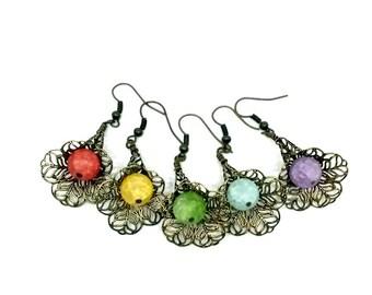 Crackle Quartz Earrings Steampunk Brass Filigree Dangles Handmade Gift