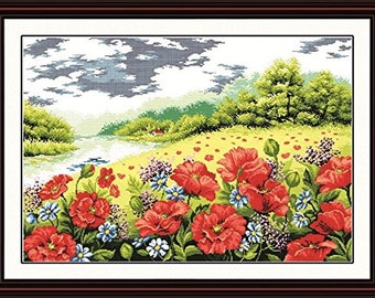 Cross Stitch Kit - Poppies by the River