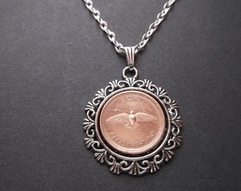 Canada Copper Colored Coin Necklace in Pendant Tray- Canada  1967 Coin Pendant with Chain