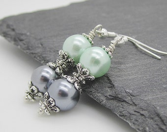 Grey and Mint Wedding Earrings, Mint Bridesmaid Pearl Drops, Grey Wedding Pearl Dangles, Bridal Party Gifts, Matching Bridal Sets,