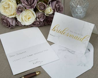 Will you be my Bridesmaid proposal card in Marble and Gold
