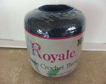 CROCHET THREAD ROYALE Classis Size 10 Crochet Thread By J P Coats Color Navy Blue