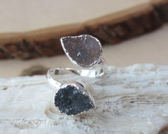 Druzy ring, druzy ring silver, adjustable druzy ring, sterling silver druzy ring
