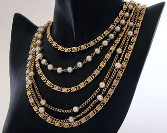 Vintage Coro Multi Chain Necklace, Scroll Chain with Alternating Faux Pearls on Curb Chain