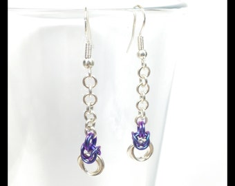 Sterling Silver Chainmaille Earrings - Byzantine Drop - Violet Purple