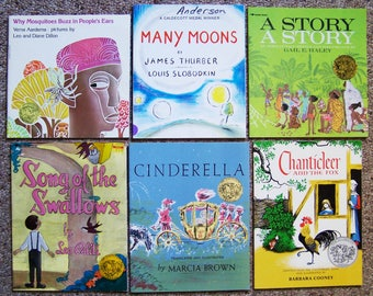 Caldecott Medal Winners - Lot of 12 - A Story, A Story, Cinderella, Ashanti to Zulu, Chanticleer and the Fox - Children's, Teacher's Books
