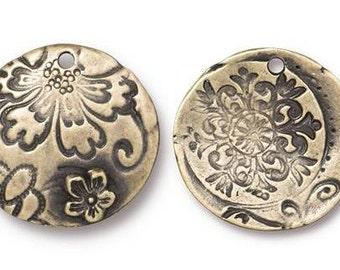 TierraCast Dulce Vida Collection - Flora Charm, Large Round Charm, Oxidized Brass - (TC/2502-27) - Qty. 2