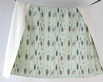 Large Baby/Toddler Blanket, Gray and Mint Leaflet with Ivory Minky Dot