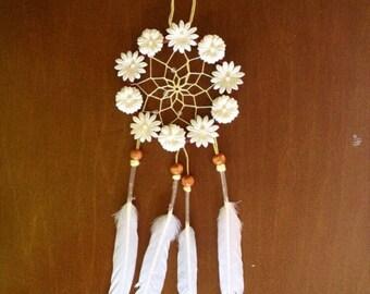 Floral White Daisy Dream Catcher