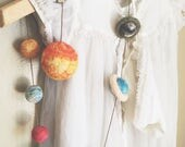 Garland - The Sun and the planets. Toy, decoration, outer space set, learning, ornament, needle felted gift, science, wooly topic