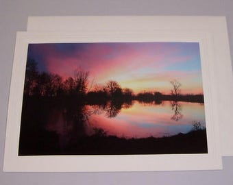Colorful Sunrise Over Lake BLANK Photo Greeting Card