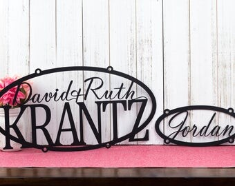 Custom Name Metal Signs | Family Name | Child Name | Metal Wall Art | Custom Sign | Personalized Sign | Anniversary Gift | Outdoor Sign