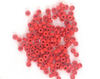 Magnesite  Heishi 4mm  orange -disc beads, Spacer beads, howlite heishi Qty 150, supplies