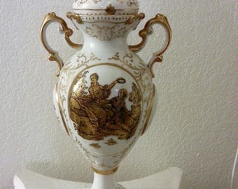 """Beautiful 16 inches tall """"jar"""" with lid - by Ardalt - Lenwile China - made in Japan"""