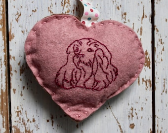 Lavender Scented Sachet, Felt Heart, Dog Sachet, Heart sachet, home decor, heart hanging, embroidered dog, drawer hanging, bedroom decor,
