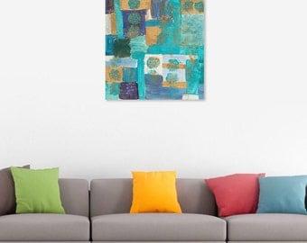 ABSTRACT Blue Original Art. Blue original Painting.  Blue mixed media Painting. Art under 200.  Blue wall art. Blue abstract art. Blue Art