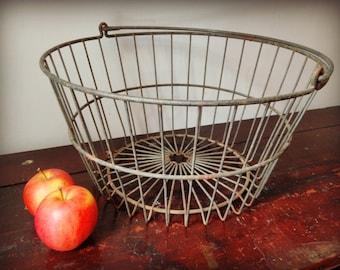 Metal Farm Basket -  Apple Basket - Large Egg Basket - Veggie Basket