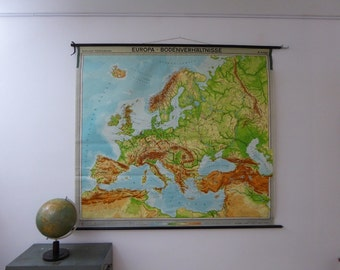 Original Vintage School Chart - Large Europe Map - Vintage Map of Europe - Original Westermann School Map 1969