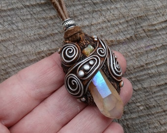 SHIPPING INCLUDED Angel Aura Quartz  and Welo Opal Pendant