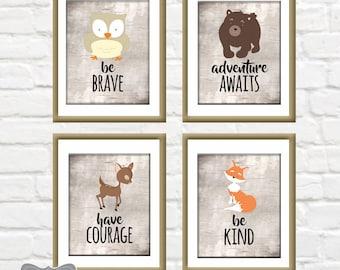 Woodland Nursery Prints, Animal Nursery Digital Prints, Animal Nursery Decor, Woodland Animal Decor, Animal Prints, Rustic Animal Signs, PDF
