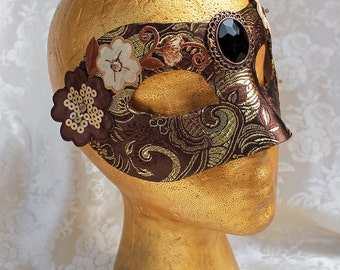 Bronze Gold Women's Mask, Metallic Bronze Brown and Gold Brocade Masquerade Mask with Flower Appliques