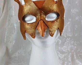 Gold Bronze LeatherGoblin Mask, Bronze Brown Gold Tooled Light Weight Flexible Goblin Imp Bird Masquerade Mask