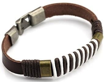 Punk Style Genuine Leather Braided Bracelet.
