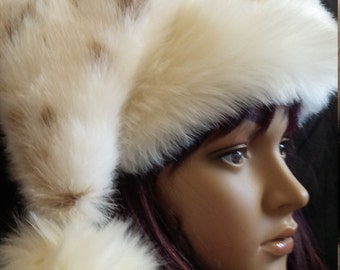 Limited Edition Rabbit fur Santa hat with ivory fur trim