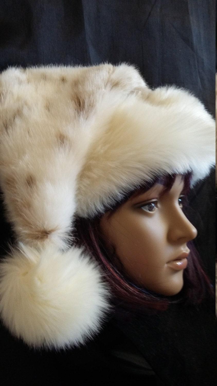 Limited Edition Rabbit fur Santa hat with ivory fur trim
