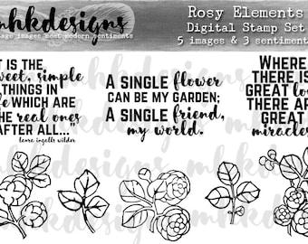 Rosy Elements Digital Stamp Set