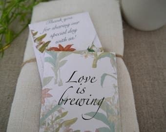 Botanical wedding favour tea bag pack of 10