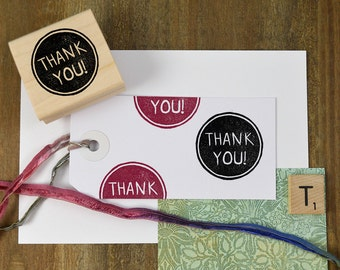 Thank You Stamp, DIY Packaging Stamp, Thank You Gift Stamp, Card Making Rubber Stamp, Thanks Stamp, Hand Carved Stamp 060