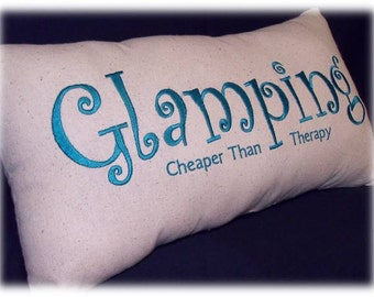 Glamping Embroidered Pillow
