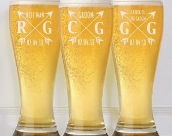 Custom Beer Glasses, Wedding Party Favors, Groomsmen Gifts, Will You be My Groomsman, Beer Mugs, Custom Pilsner, Unique Groomsmen Gift