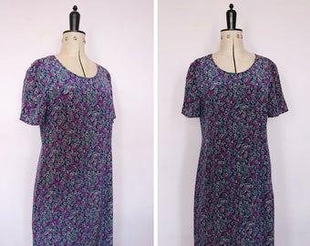 Vintage 1990s floral silk dress - 90s floral dress - 90s maxi dress - 90s silk dress - 90s maxi dress - 90s tea dress - 90s grunge dress
