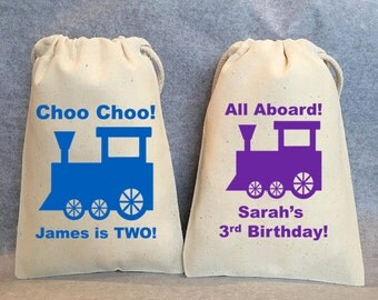 "24- Train Birthday, Train Party, Choo Choo train, Train birthday supplies, Train favors, choo choo train,Train Party Favor Gift Bags - 4""x6"""