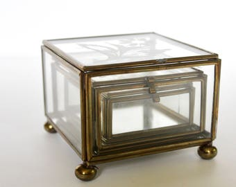 Vintage Brass and Glass trinket boxes /Trio of Boxes / Etched Glass Boxes / Set of three Vintage Glass Boxes / Vintage Fused Brass and Glass