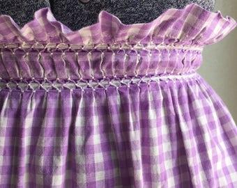 Purple Gingham apron, vintage handmade apron, purple vintage apron, purple and white apron, apron with ruching, vintage half apron
