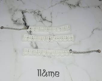 White floral lace choker, bohemian, gypsy, boho,