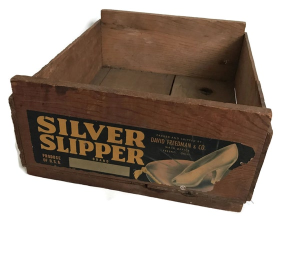 Vintage wood fruit crate silver slipper brand wooden box for Buy wooden fruit crates