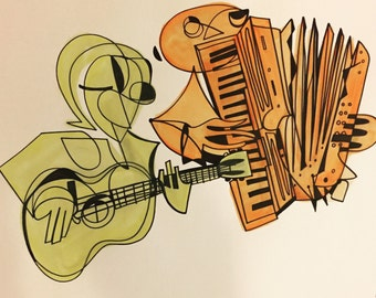 Love With No Regrets: guitarist and accordionist.  18 x 24