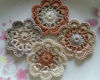 4 Crochet  Flowers In 2 inches  Applies YH - 228-06