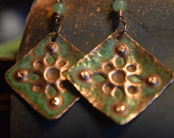 Hand-stamped Salvaged Copper Earrings