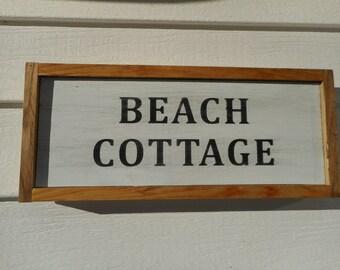 Distressed wooden beach cottage sign / beach decor