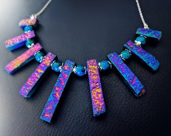 Titanium rainbow necklace, chrysachola necklace, purple necklace, gemstone necklace, boho necklace, gypsy necklace, magic ncklace, OOAK
